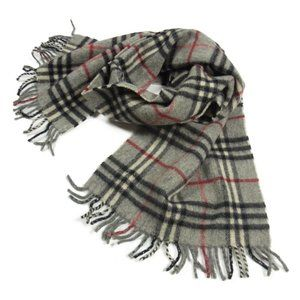 Authentic BURBERRY Nova Plaid Check Lambswool Fringe Stole Scarf Gray
